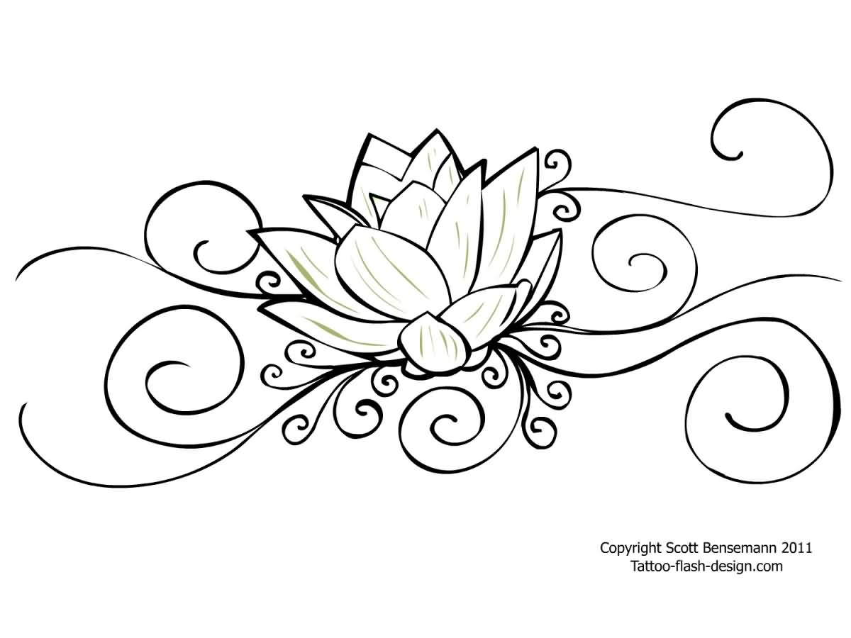 33 amazing lotus tattoo stencil designs photos and ideas attractive black outline lotus flower tattoo stencil izmirmasajfo