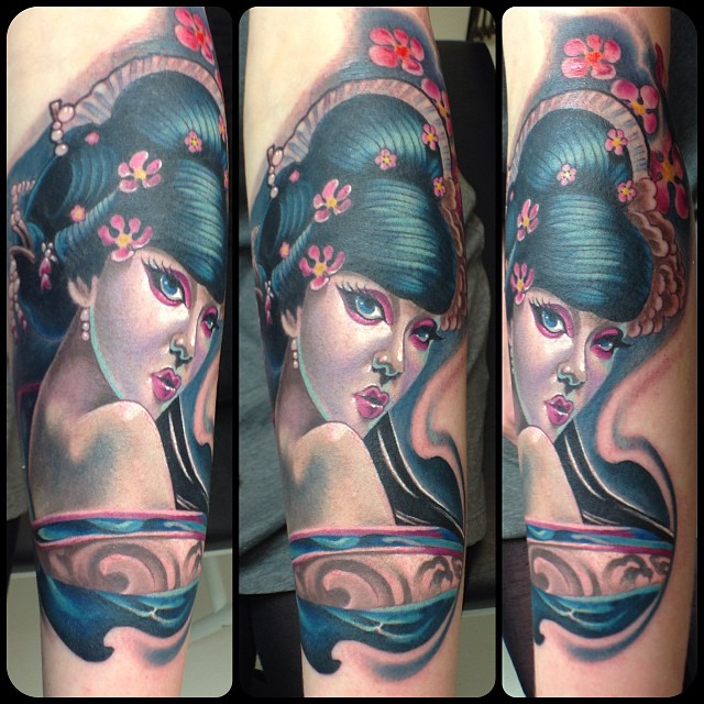 Attractive Girl Portrait Tattoo On Right Arm By Fabz