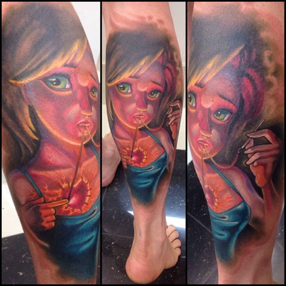 Attractive Girl Portrait Tattoo On Right Leg Calf By Fabz