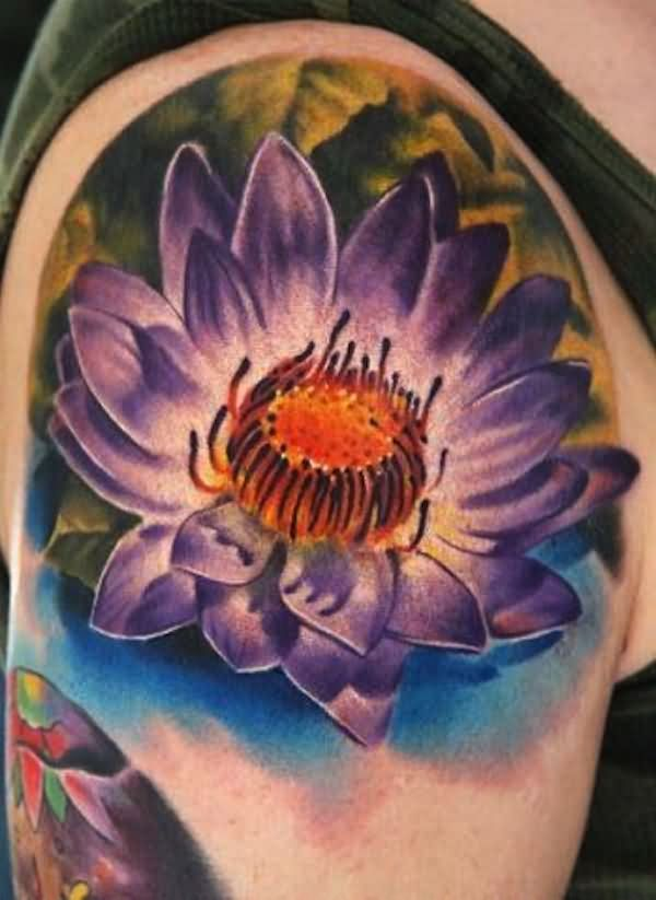 Attractive Lotus Flower Tattoo On Right Shoulder