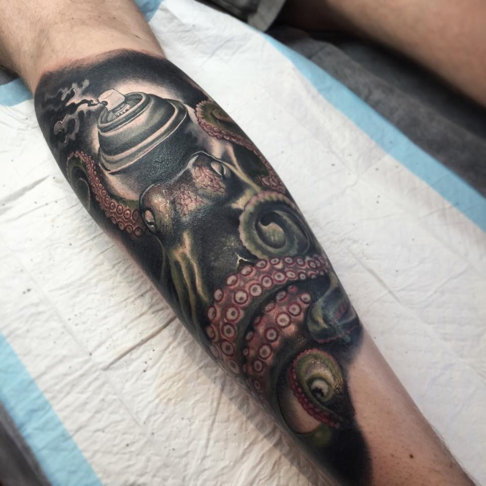 Attractive Octopus Tattoo On Left Leg Calf By Fabz