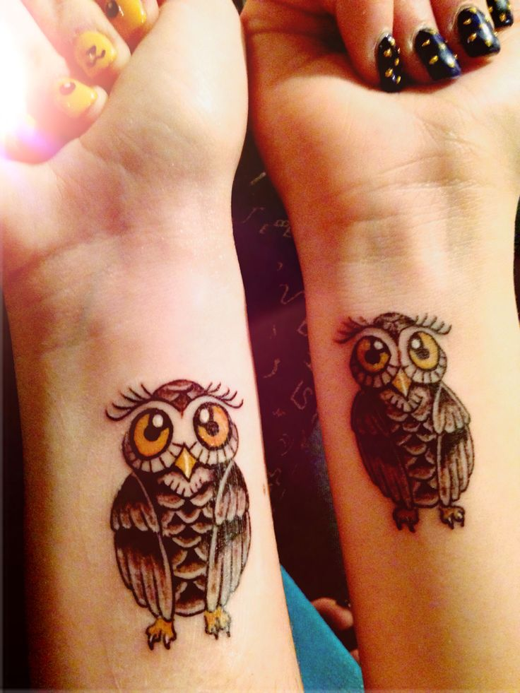 Attractive Owl Tattoo On Girl Wrist