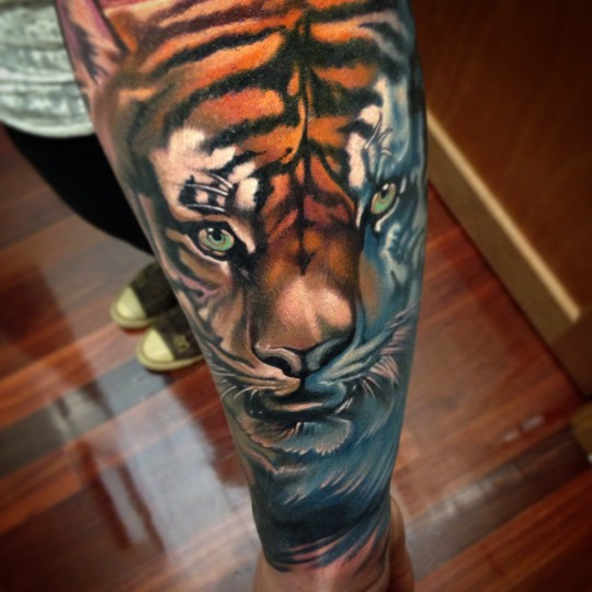 Attractive Tiger Head Tattoo On Left Arm By Fabz