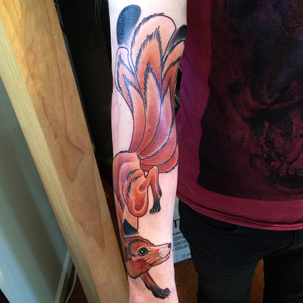 Attractive Unique Fox Tattoo On Right Arm By Kitty Dearest