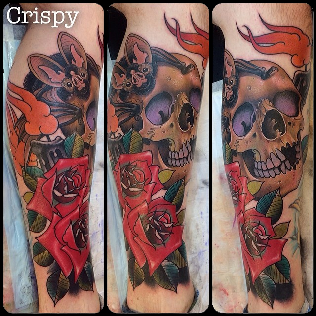 Awesome 3D Bat With Skull And Roses Tattoo On Right Leg By Crispy Lennox