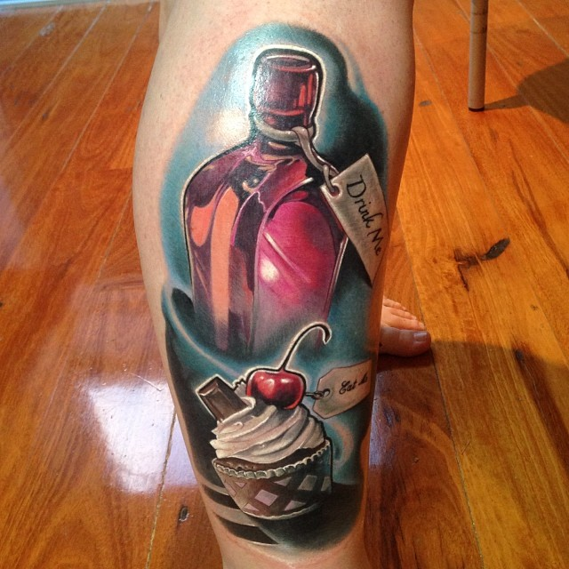 Awesome 3D Bottle With Cup Cake Tattoo On Right Leg By Fabz