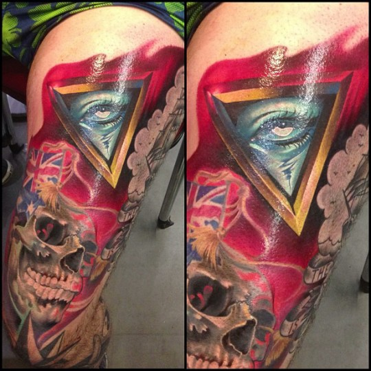 Awesome 3D Illuminati Eye With Skull Tattoo On Left Thigh By Fabz