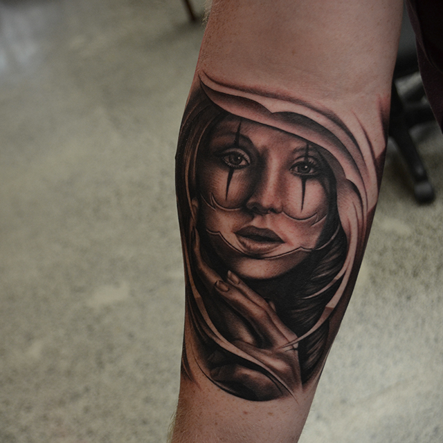 Awesome Black Ink Girl Face Tattoo On Right Forearm By Ben Thomas