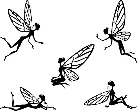 Awesome Black Outline Five Fairies Tattoo Design