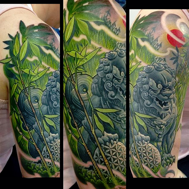 Awesome Foo Dog Tattoo On Man Right Half Sleeve By Frederick Bain