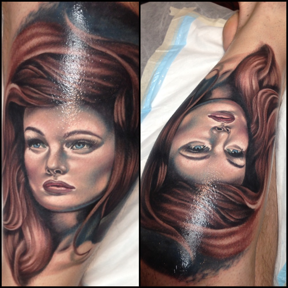 Awesome Girl Face Portrait Tattoo On Left Leg Calf By Fabz