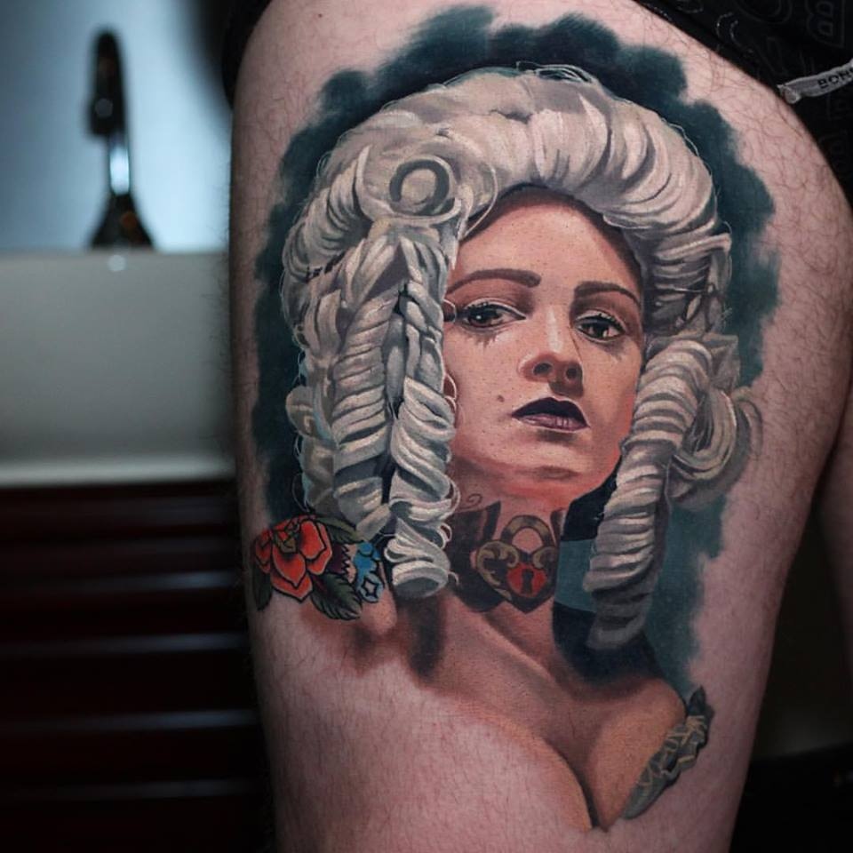 Awesome Girl Face Portrait Tattoo On Right Thigh By Crispy Lennox