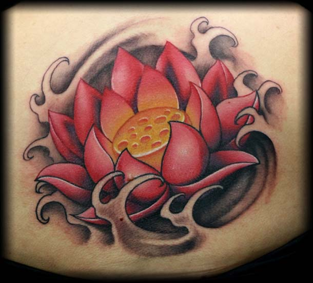 Awesome Lotus Flower In Water Tattoo Design