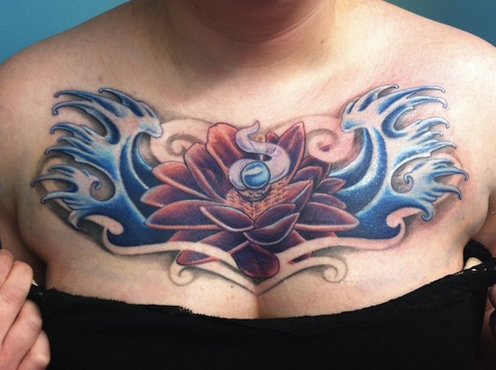 Awesome Lotus Flower In Water Tattoo On Collarbone