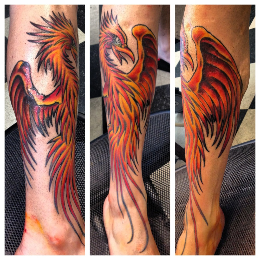 Awesome Phoenix Tattoo On Leg By Roger McMahon