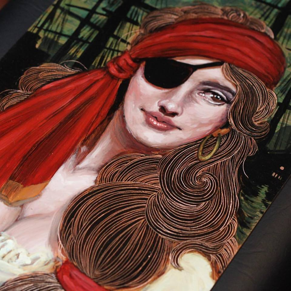 Awesome Pirate Girl Tattoo Design By Crispy Lennox