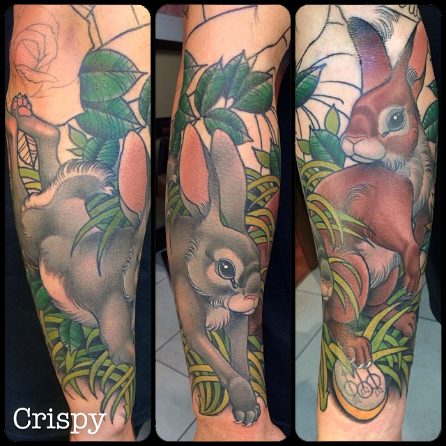 Awesome Rabbit Tattoo On Right Arm By Crispy Lennox