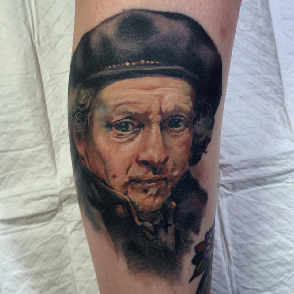 Awesome Rembrandt Portrait Tattoo On Leg By Crispy Lennox