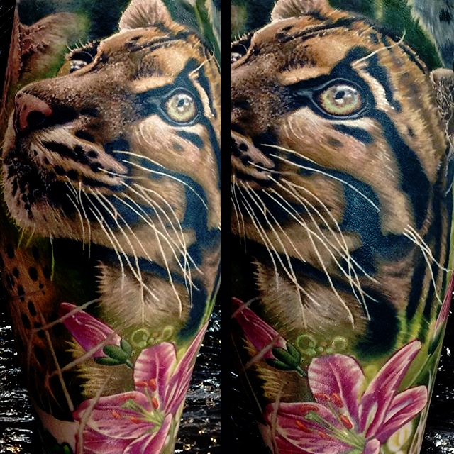 Awesome Tiger Kitten Face With Flower Tattoo Design For Leg Calf By Frederick Bain