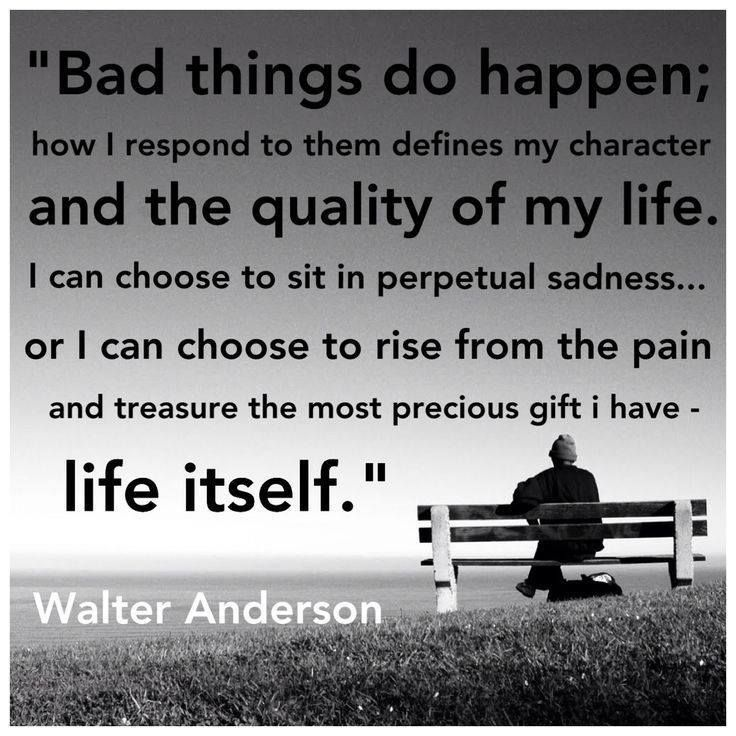 Bad things do happen; how I respond to them defines my character and the quality of my life. I can choose to sit in perpetual sadness, .. Walter Anderson