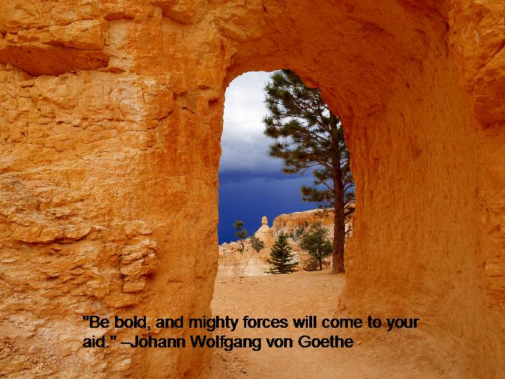 Be bold and mighty forces will come to your aid. Johann Wolfgang Von Goethe