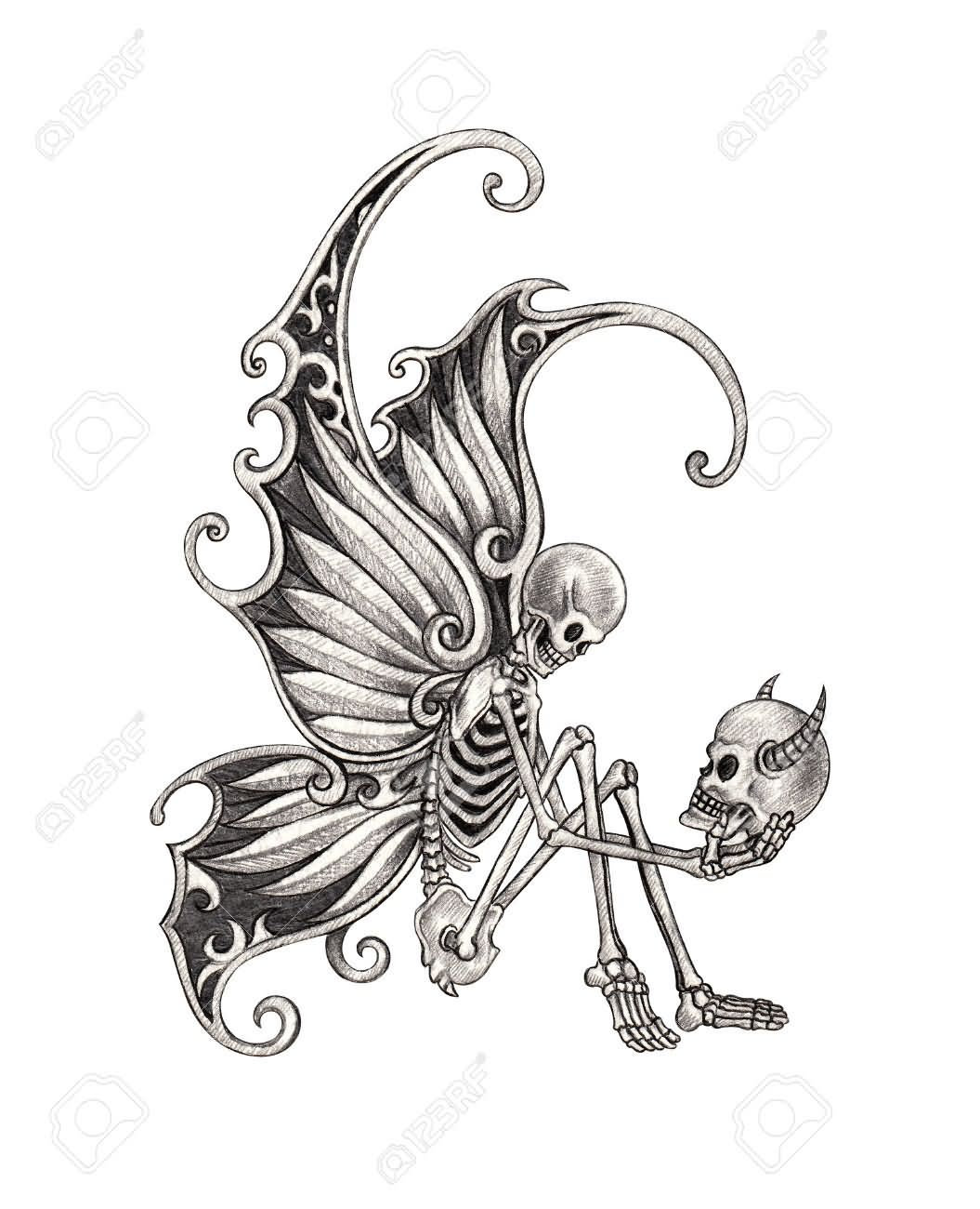 Black And Grey Fairy Skeleton Tattoo Design