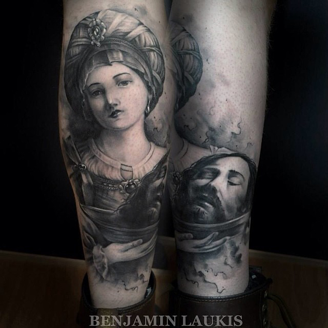 Black And Grey Girl Holding Jesus Head Tattoo On Leg Calf By Benjamin Laukis