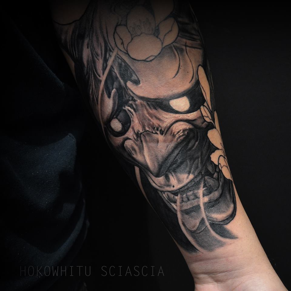 Black And Grey Hannya Mask Tattoo On Left Forearm By Hokowhitu Sciascia