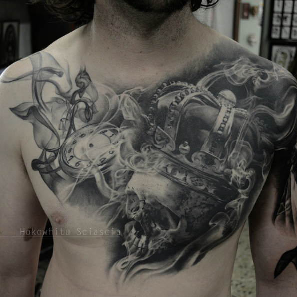 Black And Grey King Crown On Skull With Pocket Watch Tattoo On Man Chest By Hokowhitu Sciascia