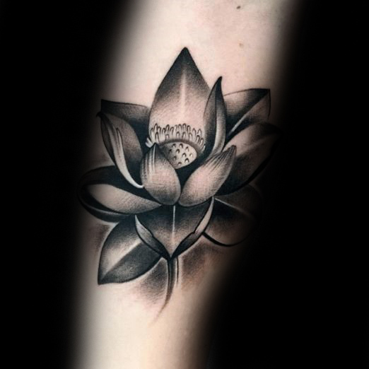 Black And Grey Lotus Flower Tattoo Design For Sleeve
