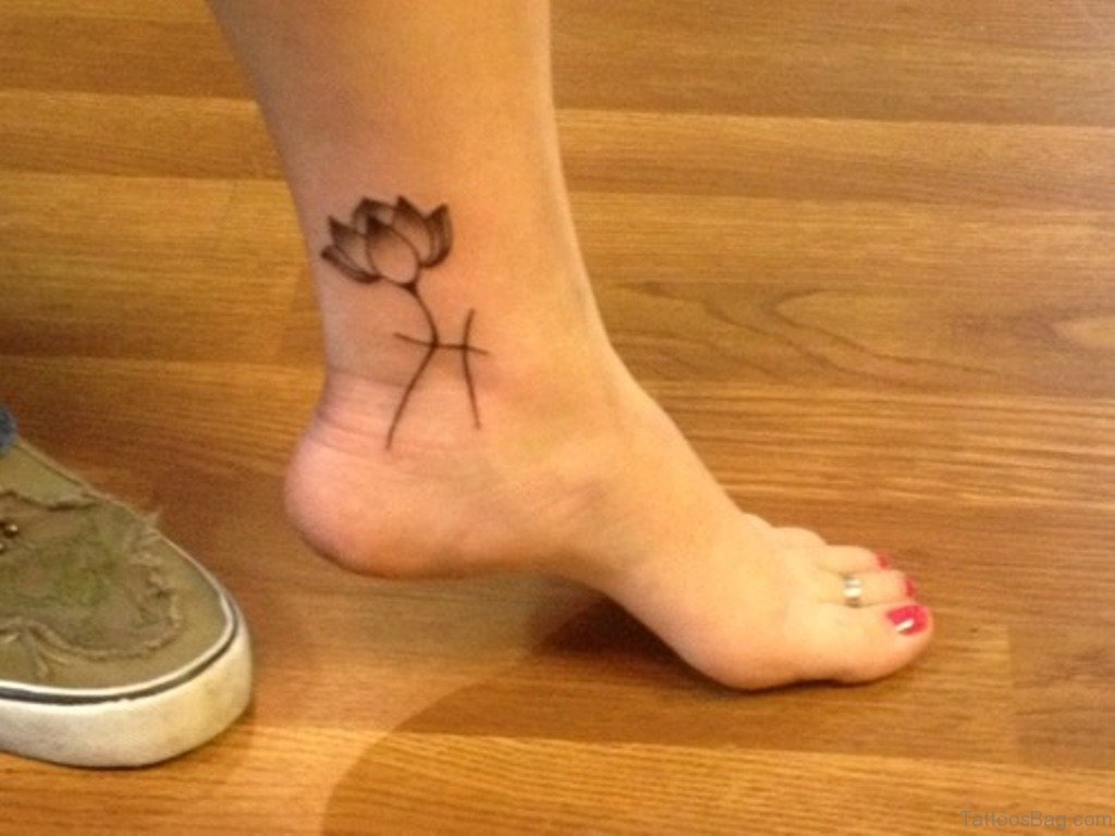 Black And Grey Lotus Flower Tattoo On Girl Left Foot Ankle