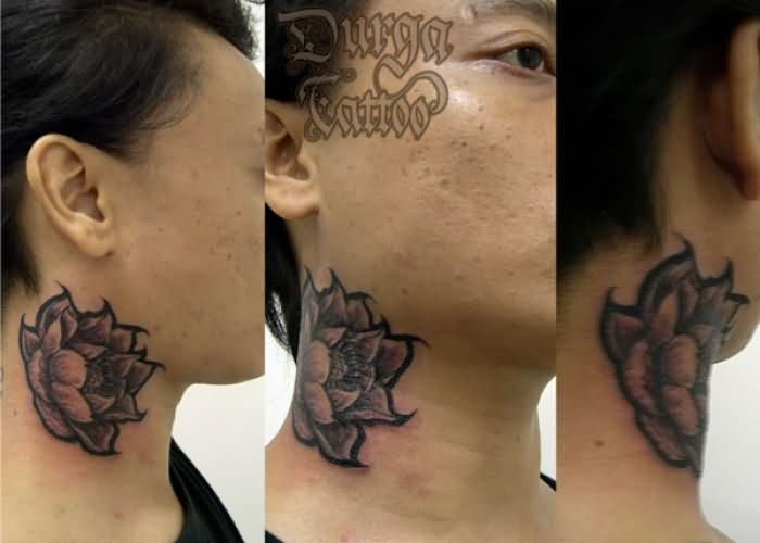 Black And Grey Lotus Flower Tattoo On Man Side Neck