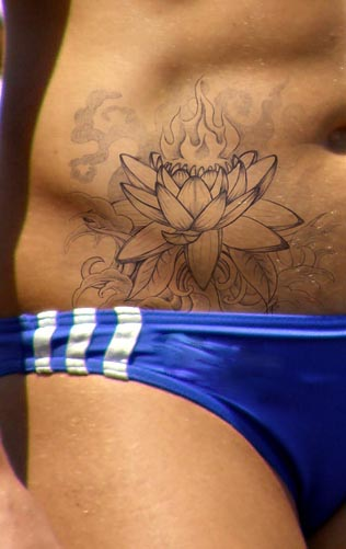 Black And Grey Lotus Flower Tattoo On Right Hip