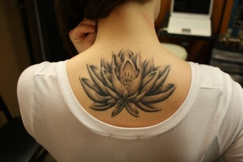 Black And Grey Lotus Flower Tattoo On Upper Back