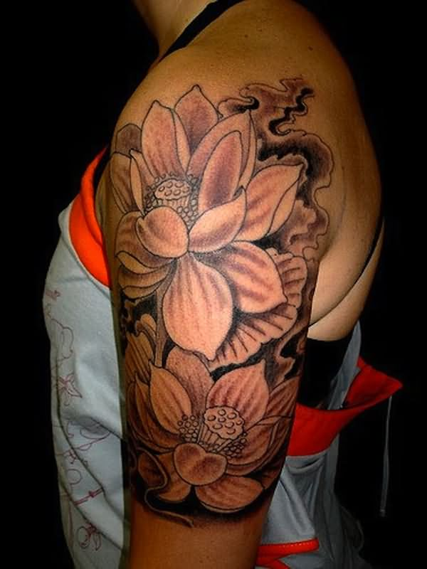 Black And Grey Lotus Flowers Tattoo On Women Left Half Sleeve