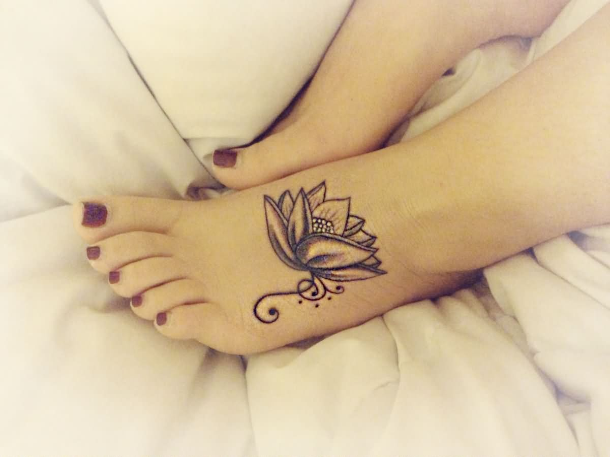 Black And Grey Lotus Tattoo On Girl Left Foot