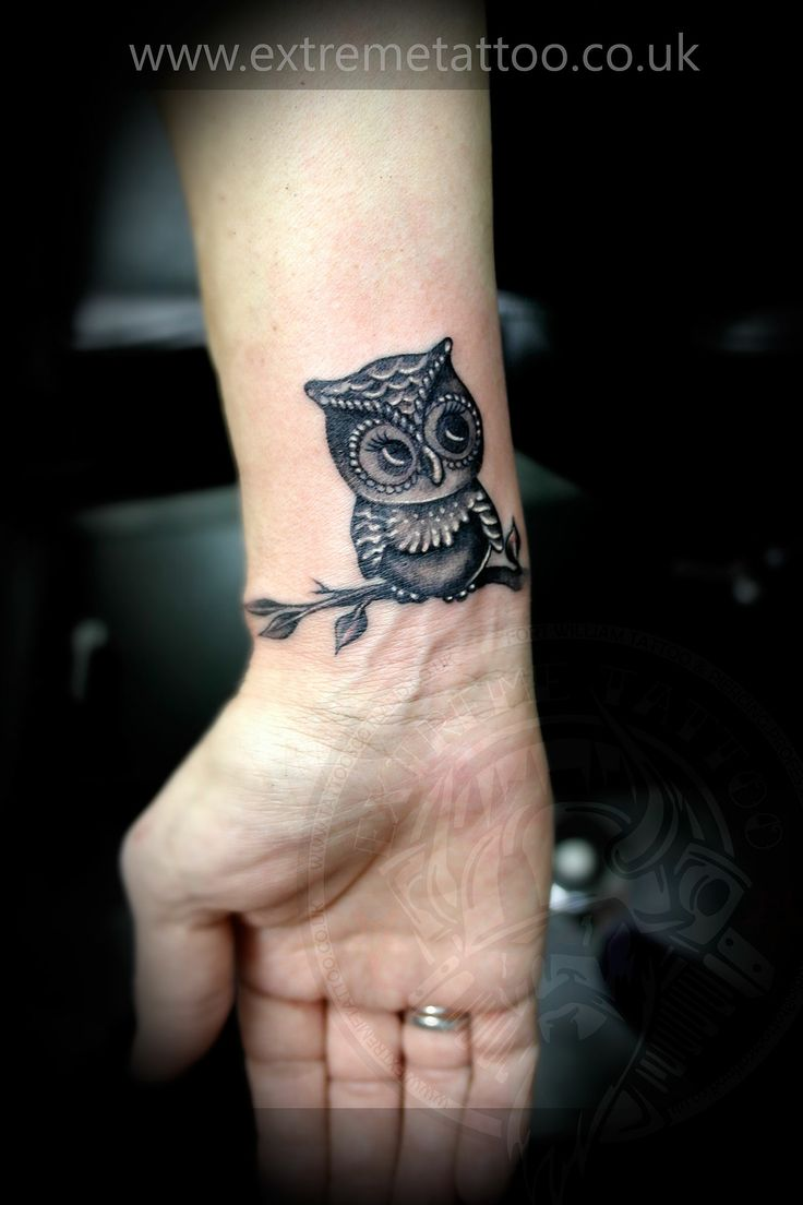 Black And Grey Owl On Branch Tattoo On Right Wrist