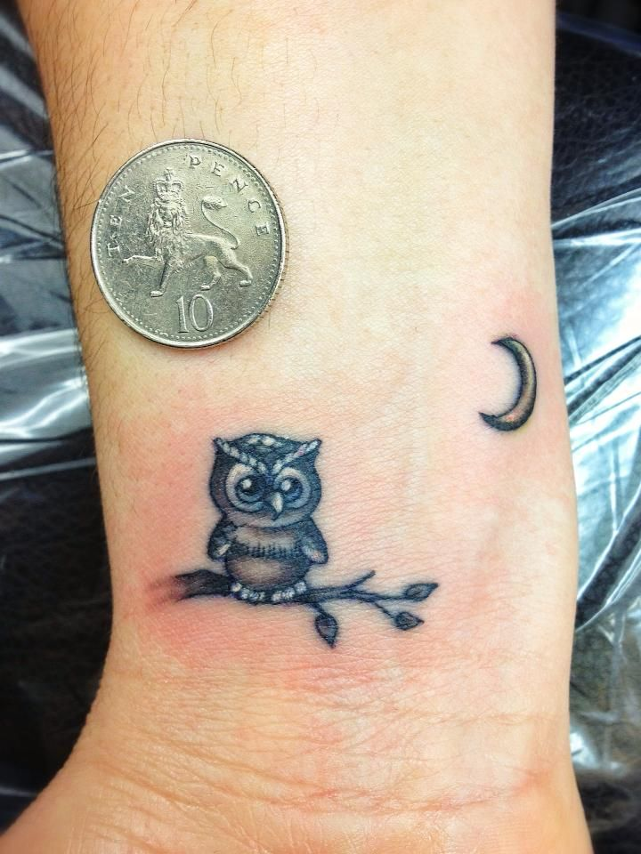Black And Grey Owl On Branch With Half Moon Tattoo On Wrist