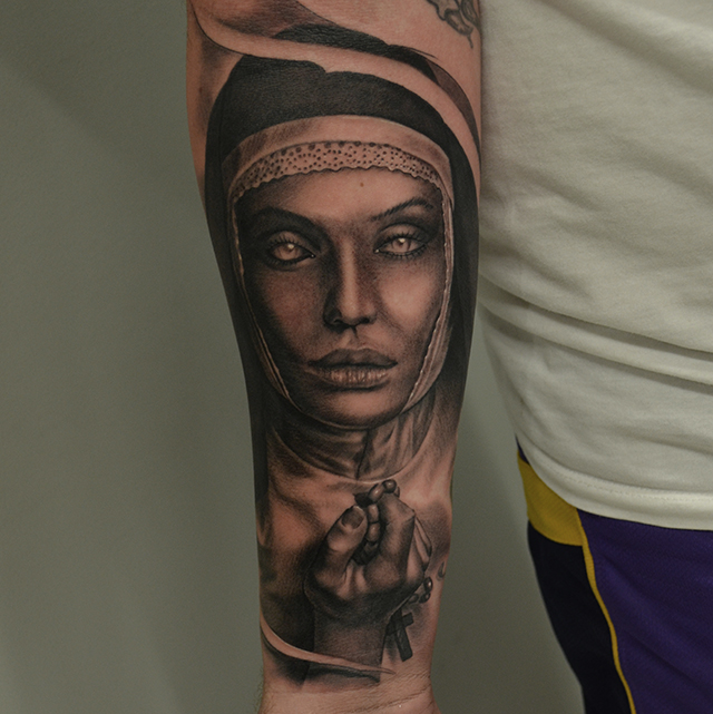 Black And Grey Rosary Cross In Female Hand Tattoo On Right Forearm By Ben Thomas
