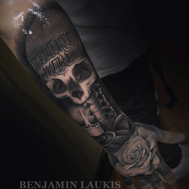 Black And Grey Skull With Burning Candle And Rose Tattoo On Right Arm And Hand By Benjamin Laukis