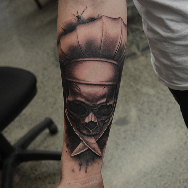 Black Ink 3D Chef Skull Tattoo On Right Forearm By Ben Thomas