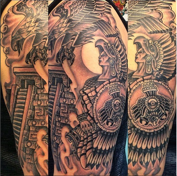 Black Ink Aztec Warrior With Flying Eagle Tattoo On Half Sleeve By Justin Brooks