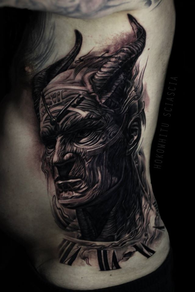 Black Ink Devil Head Tattoo On Man Left Side Rib By Hokowhitu Sciascia