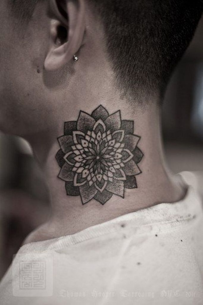 Black Ink Dotwork Mandala Lotus Flower Tattoo On Man Side Neck