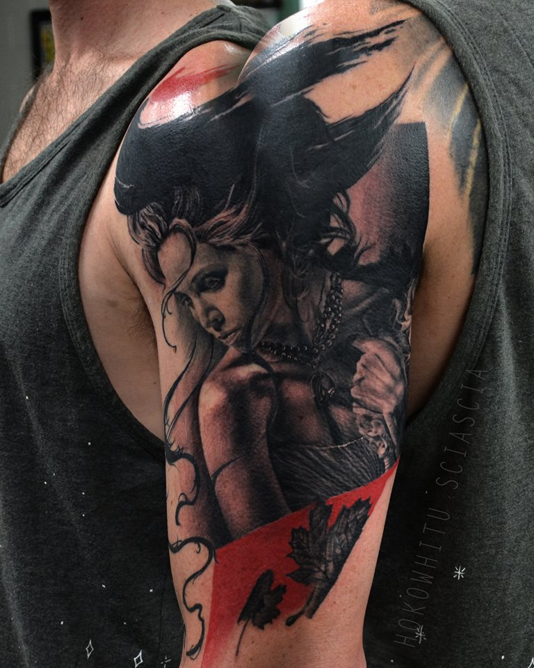 Black Ink Girl Tattoo On Man Left Half Sleeve By Hokowhitu Sciascia