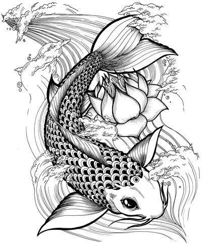 Black Ink Koi Fish With Lotus Tattoo Design By Alejandro H