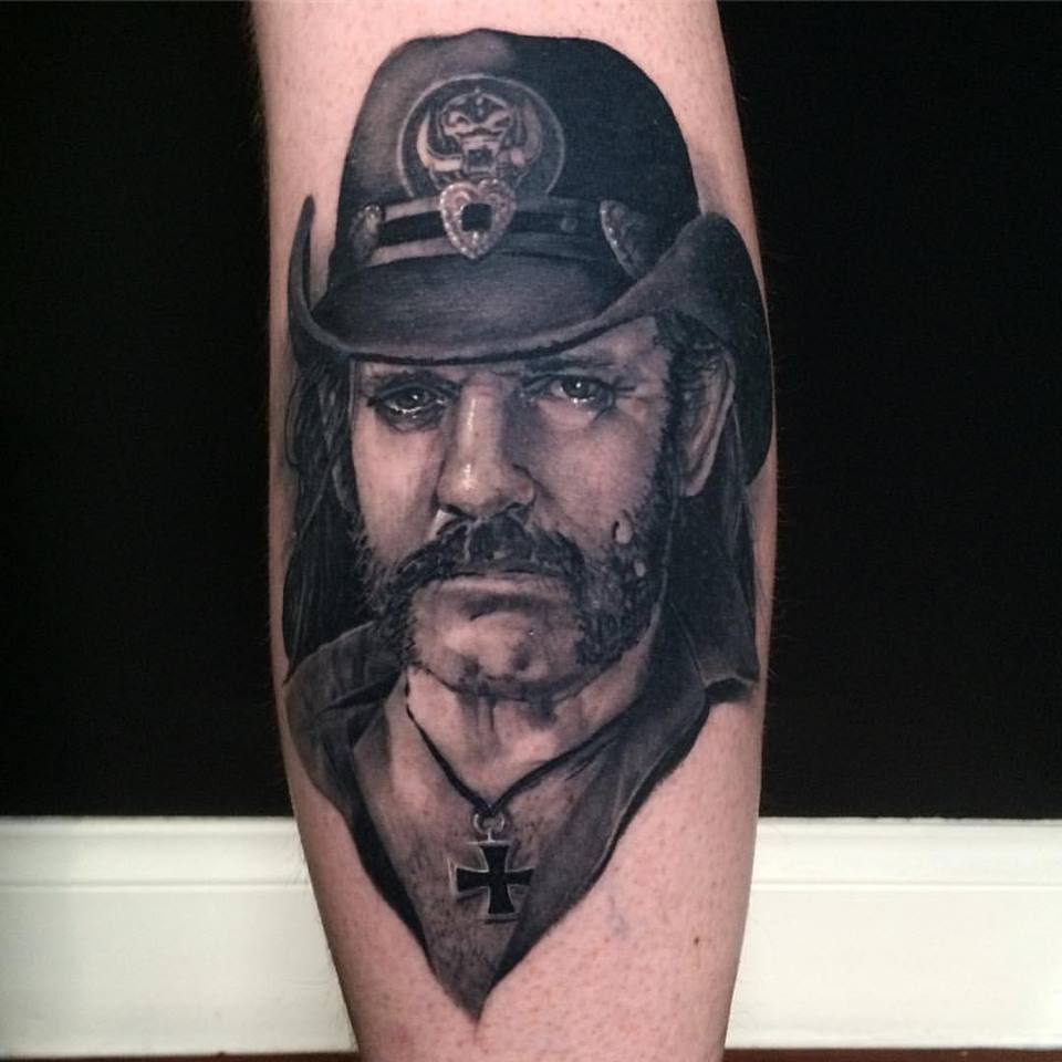 Black Ink Lemmy Portrait Tattoo On Sleeve By Crispy Lennox