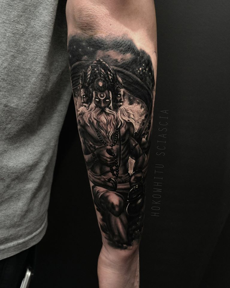 Black Ink Lord Brahma Tattoo On Right Arm By Hokowhitu Sciascia