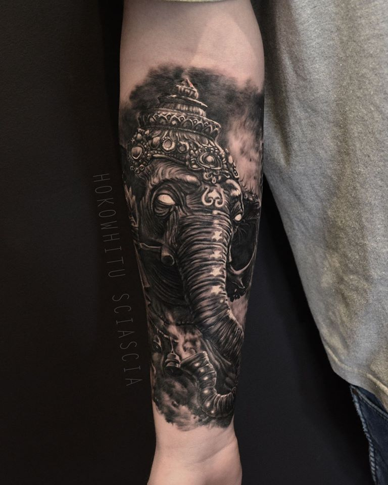 Black Ink Lord Ganesha Tattoo On Forearm By Hokowhitu Sciascia