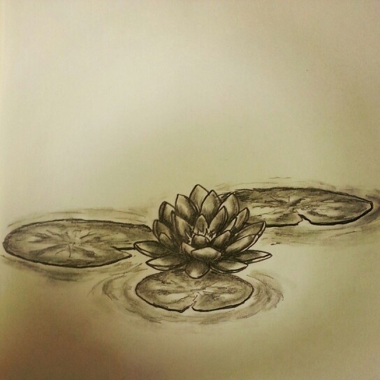 Black Ink Lotus Flower In Water Tattoo Design